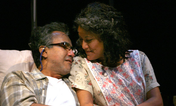 René Rivera (Older Eusebio) and Sandra Marquez (Older Flora)